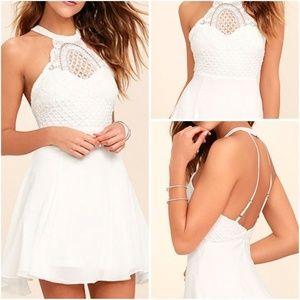 NWT Lulu's White Skater Dress Halter Crochet XL